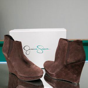 Jessica Simpson Cavanah Brown Suede Wedge Boots